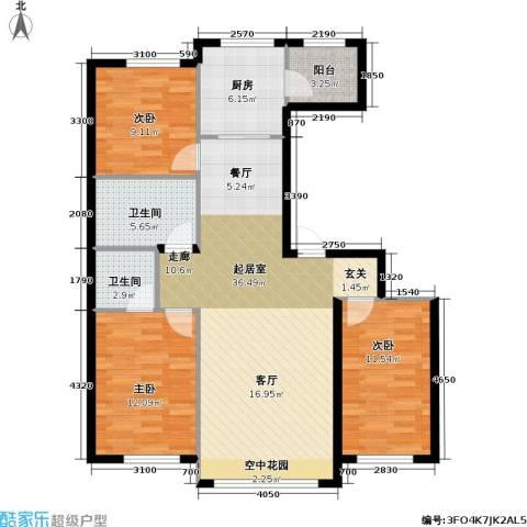 联通格林小镇3室0厅2卫1厨97.20㎡户型图