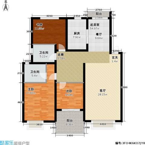万兆家园五期3室0厅2卫1厨138.00㎡户型图