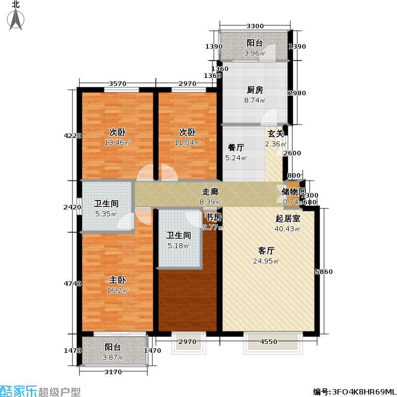 书海文园(骏城二期)148.90㎡4室2厅2卫1厨F户型I户型