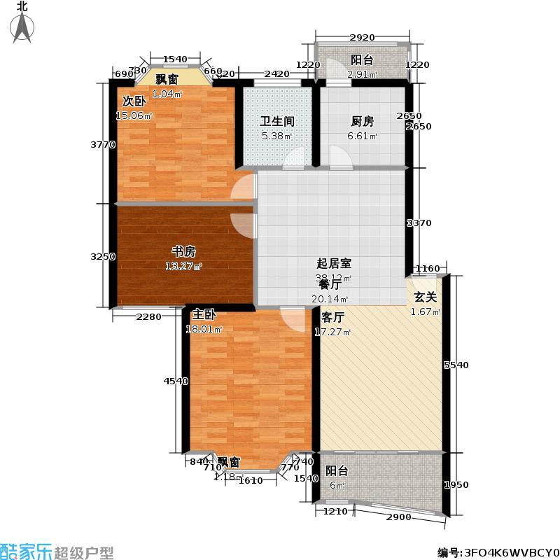沁园116.00㎡房型: 三房; 面积段: 116 -116 平方米;户型