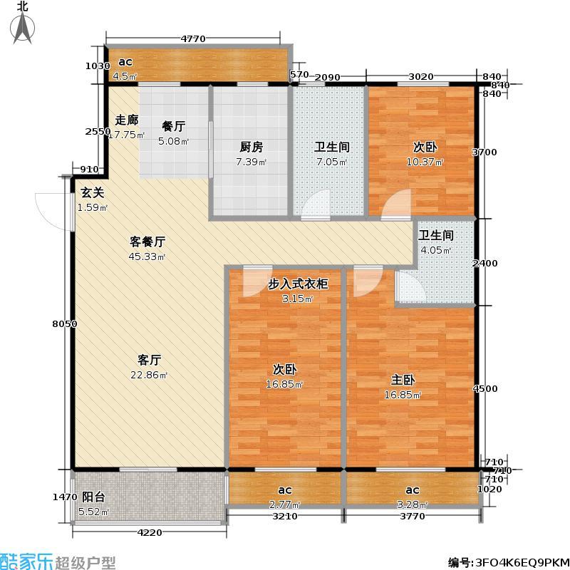 新湖印象江南二期142.95㎡三室二厅二卫户型