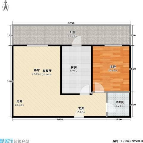 利海公寓1室1厅1卫1厨70.00㎡户型图
