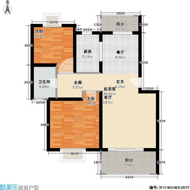 富林苑83.99㎡房型: 二房; 面积段: 83.99 -90 平方米; 户型