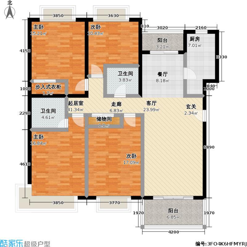 森安阳城143.73㎡房型: 四房; 面积段: 143.73 -150.8 平方米;户型