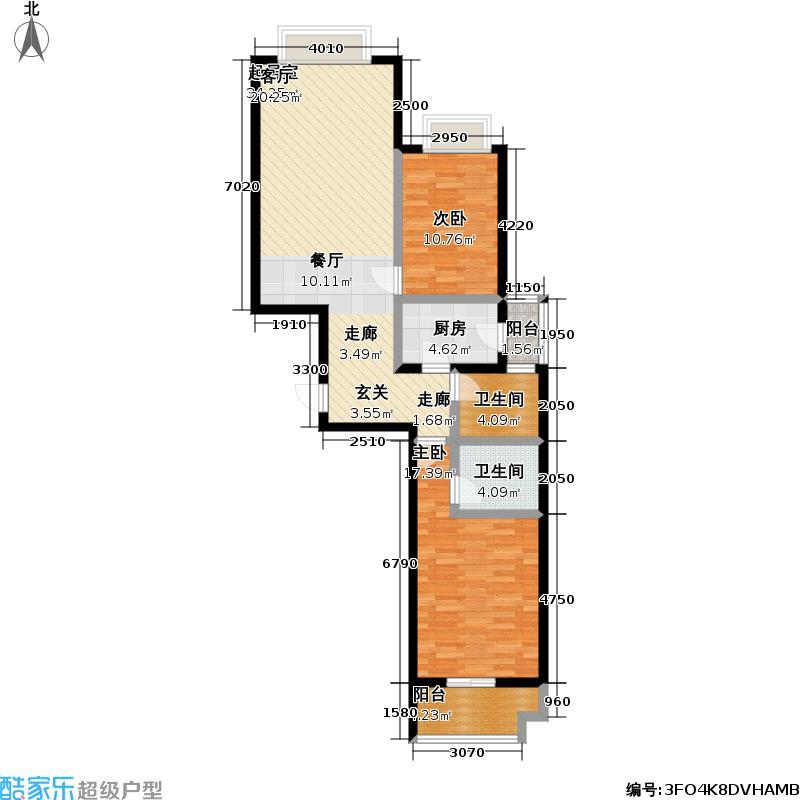 鼎立水岸家园M户型两室两厅两卫户型