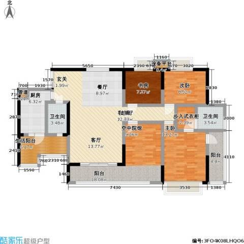 润锦御珑山3室1厅2卫1厨142.00㎡户型图