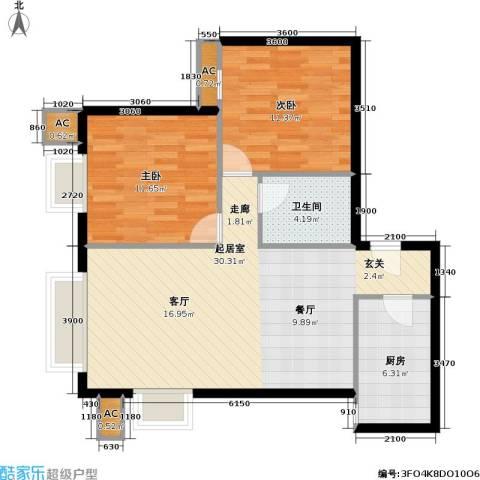 奈伦熙府2室0厅1卫1厨66.00㎡户型图