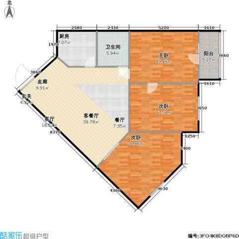 鲁谷住宅小区3室1厅1卫1厨124.00㎡户型图