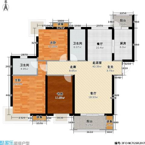路劲湖畔天城3室0厅2卫1厨121.00㎡户型图