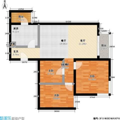 丽泽雅园3室0厅0卫1厨78.00㎡户型图