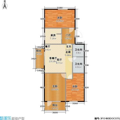 鲁谷住宅小区3室1厅2卫1厨108.00㎡户型图