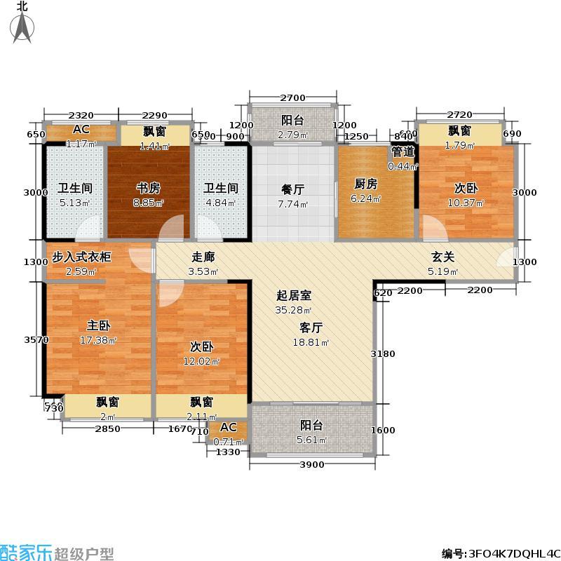 广电兰亭时代129.00㎡1/4户型4室2厅2卫