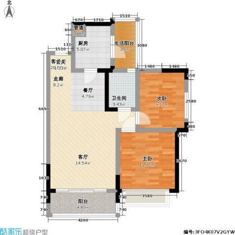 润锦御珑山2室1厅1卫1厨90.00㎡户型图