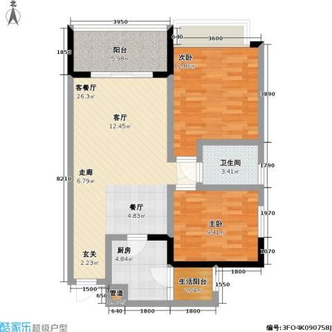 润锦御珑山2室1厅1卫1厨85.00㎡户型图