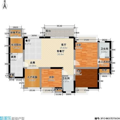 润锦御珑山3室1厅2卫1厨123.00㎡户型图