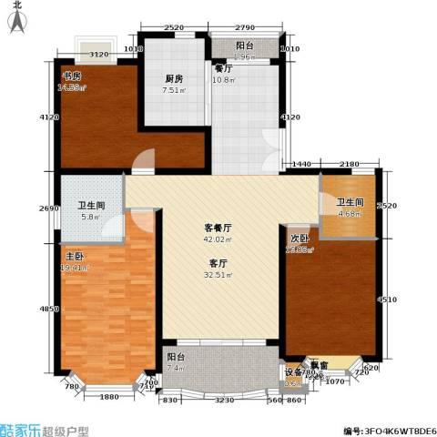 东苑世纪名门花园3室1厅2卫1厨136.00㎡户型图