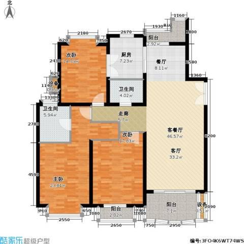 东苑世纪名门花园3室1厅2卫1厨151.00㎡户型图