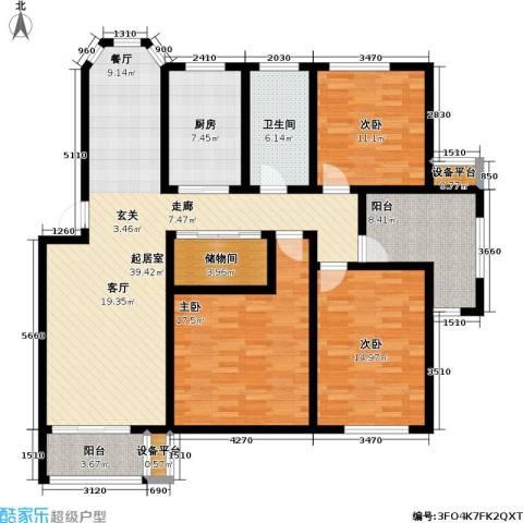 丰润港岛花园3室0厅1卫1厨132.00㎡户型图