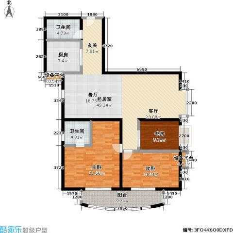 千峰彩翠大厦 (不含第三层)3室0厅2卫1厨138.00㎡户型图