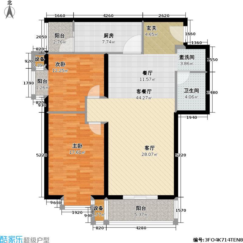 裕盛豪园南北通户型2室1厅1卫1厨