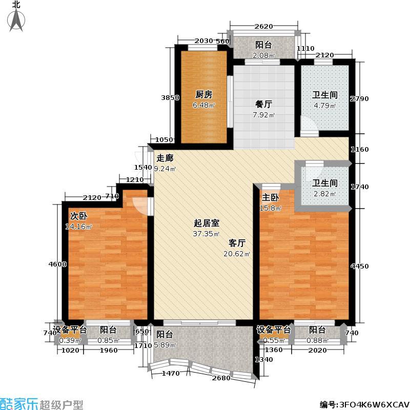 大华阳城花园(六期)80.00㎡房型: 二房; 面积段: 80 -110 平方米; 户型