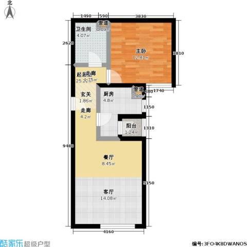 丽泽雅园1室0厅1卫1厨58.00㎡户型图