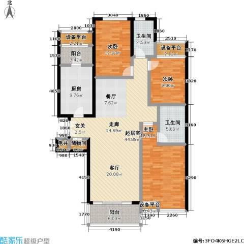 静安枫景3室0厅2卫1厨121.31㎡户型图