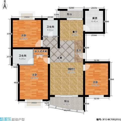 月泉湾名邸3室1厅2卫1厨125.17㎡户型图