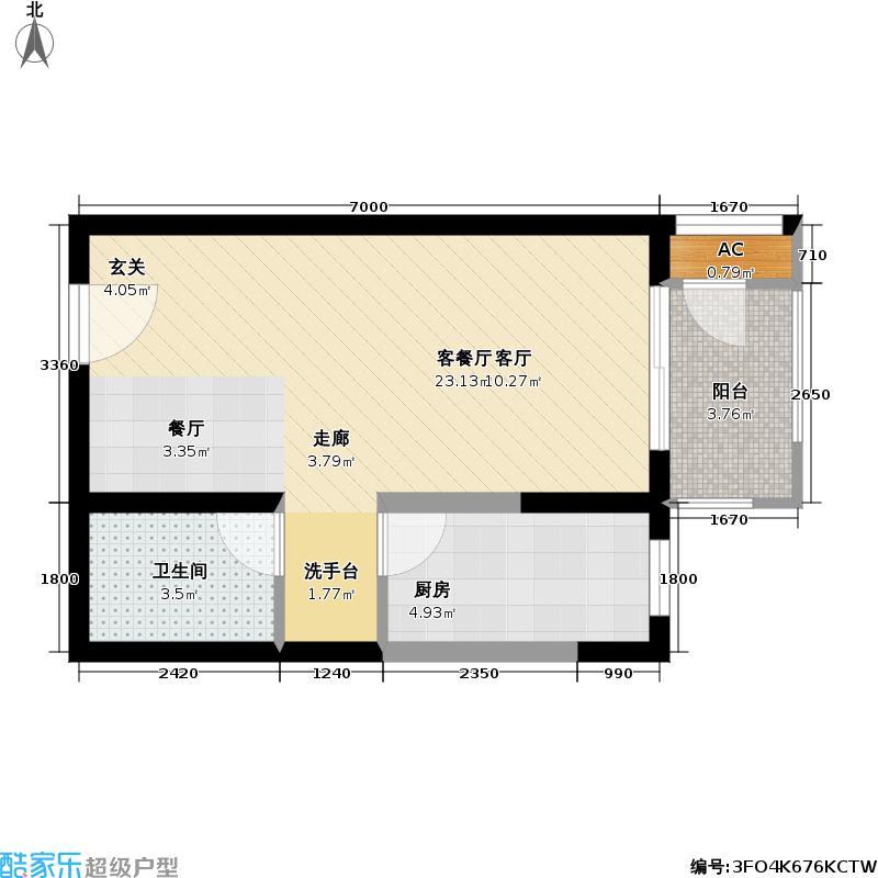 世嘉光织谷47.26㎡世嘉光织谷户型图18#楼A1户型一室一厅一卫(3/10张)户型10室