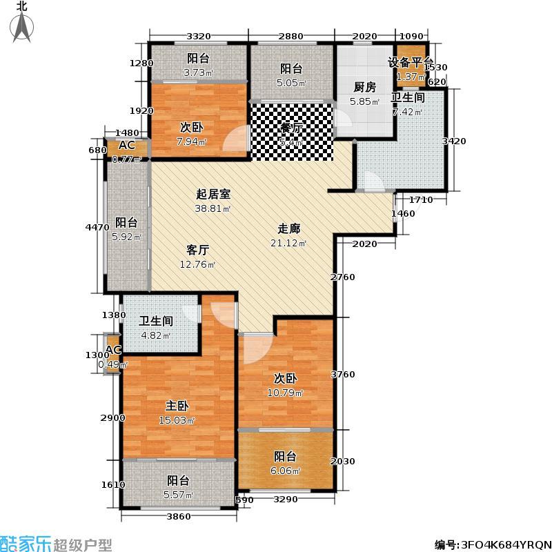 东方公园世家2号楼A户型3室2卫1厨