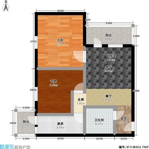 康泽园2室0厅1卫1厨64.00㎡户型图