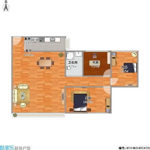 万家灯火3室1厅1卫1厨118.00㎡户型图