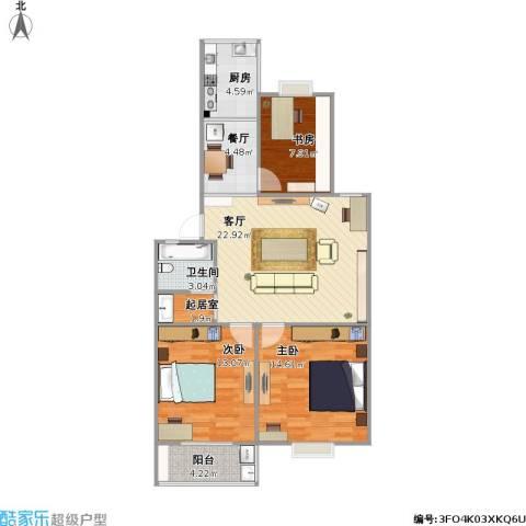 康华小区3室2厅1卫1厨104.00㎡户型图
