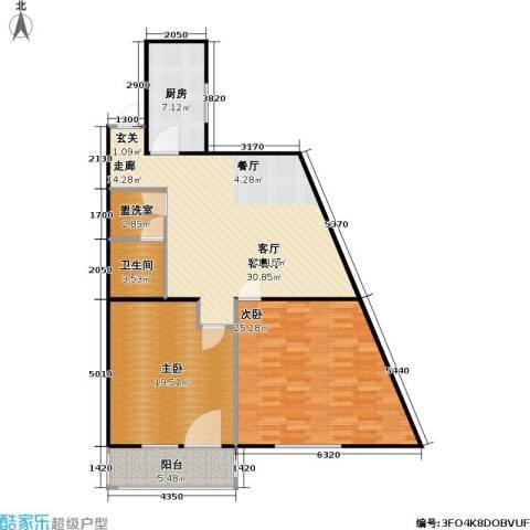 鲁谷住宅小区2室1厅1卫1厨101.00㎡户型图