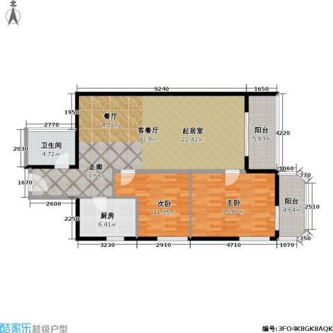 盛今大厦2室1厅1卫1厨102.00㎡户型图