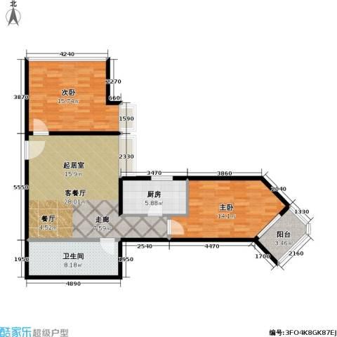 盛今大厦2室1厅1卫1厨86.00㎡户型图