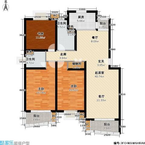 浣纱雅苑3室0厅2卫1厨122.00㎡户型图