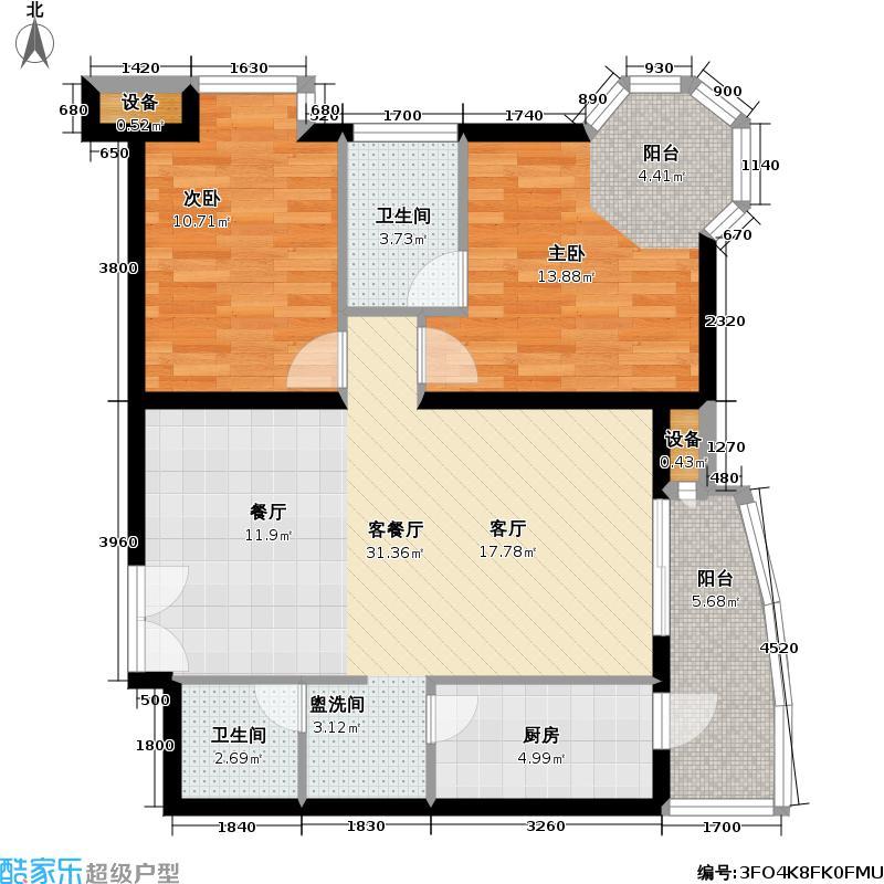 官苑八号106.48㎡1单元3-14层B1-2室2厅2卫户型