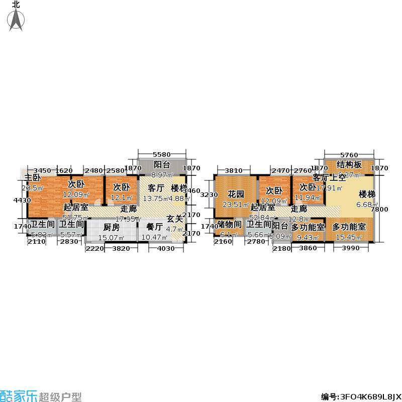 龙翔花园二期150.00㎡龙翔花园二期户型图房型:复式;面积段:150-200平方米;(2/3张)户型10室