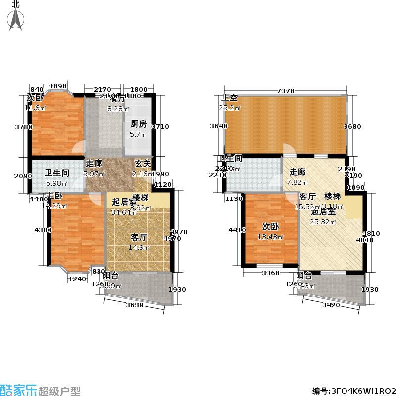 万景园(二期)房型复式户型3室2卫1厨