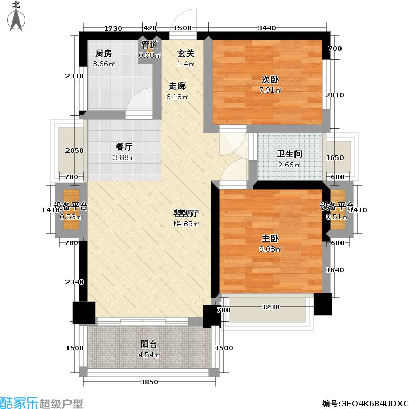 壹克拉A-02偶数层户型2室1厅1卫1厨