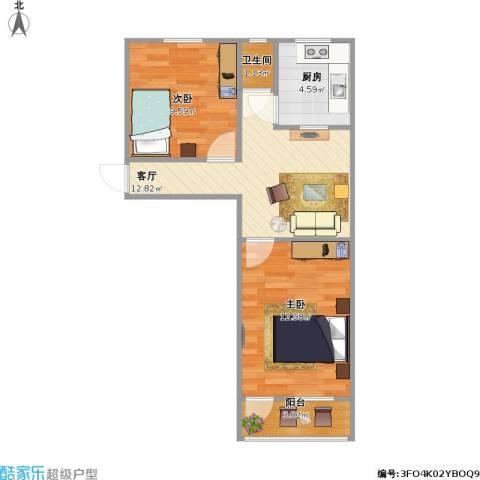 工人新村2室1厅1卫1厨60.00㎡户型图