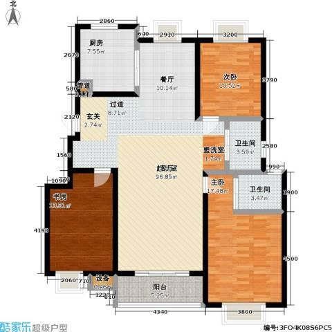 天鹅湖花园3室0厅2卫1厨127.00㎡户型图