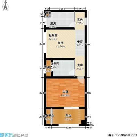 吾悦生活广场1室0厅1卫1厨71.00㎡户型图