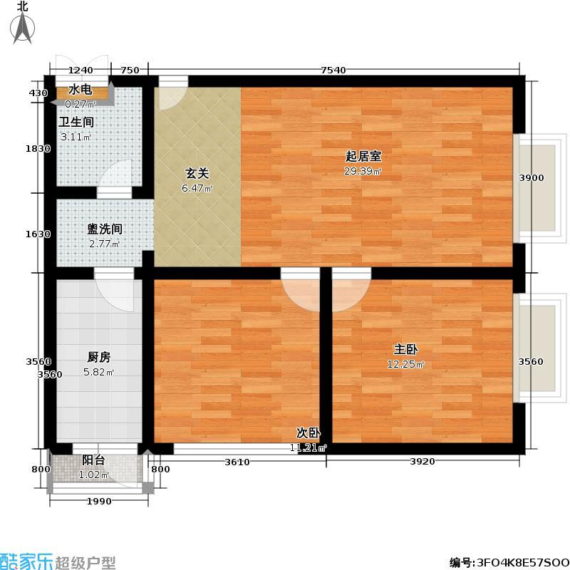 官苑八号93.67㎡2单元3-14层301户型二室一厅一卫户型