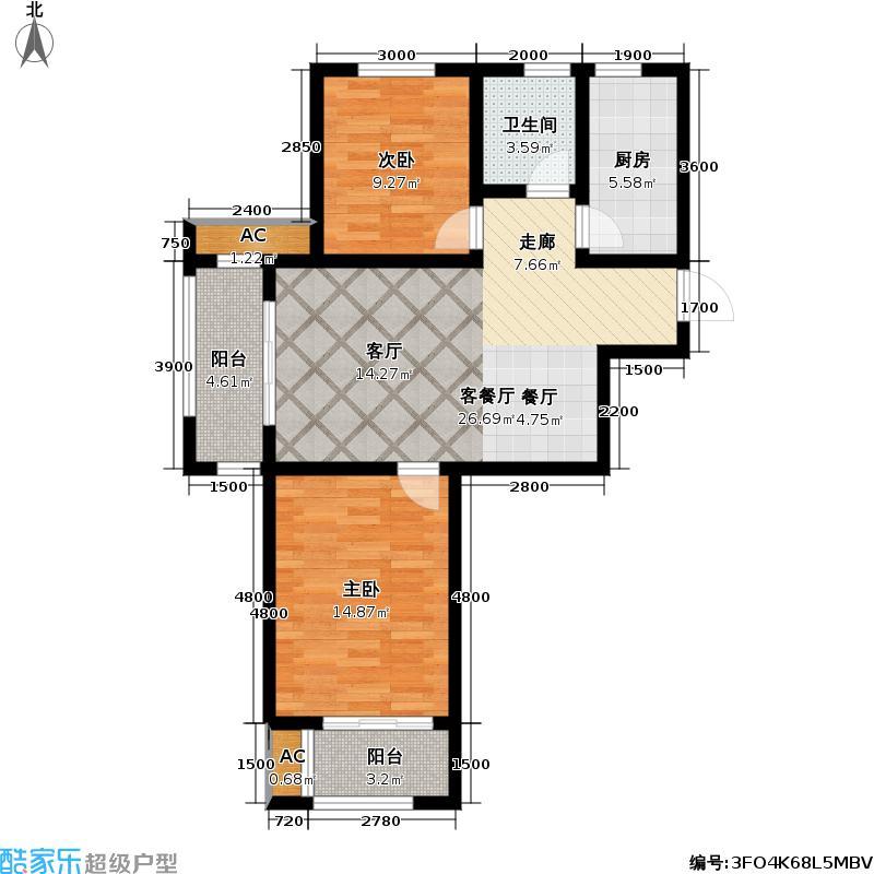 福顺嘉苑3号楼H1户型2室1厅1卫1厨