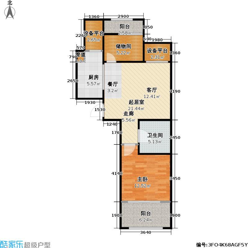 东方公园世家1号楼C户型1室1卫1厨