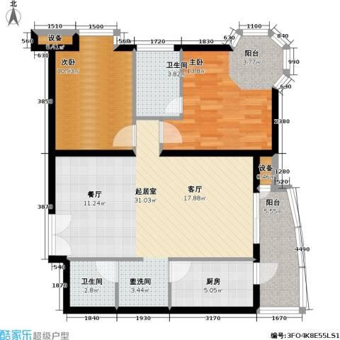 官苑八号2室0厅2卫1厨106.00㎡户型图