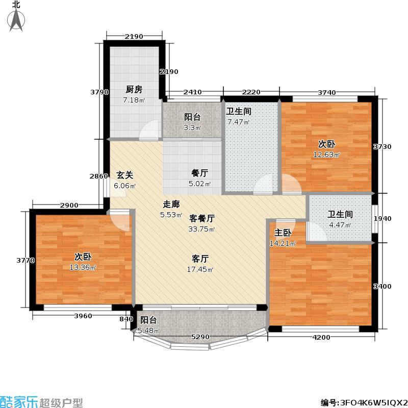 黄兴绿园三期113平方米三室两厅两卫两南一北户型