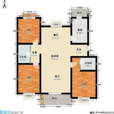栖美国际3室0厅2卫1厨132.00㎡户型图